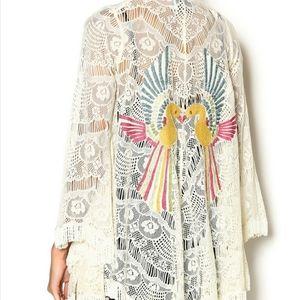 Judith March Lace Embroidered Bird Festival Kimono